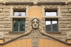 Bâtiment d'Art Nouveau à Riga Images libres de droits