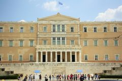 Bâtiment grec du Parlement à Athènes Photos stock