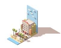 Bâtiment isométrique d'hôtel de vecteur Photo stock