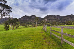 BTops Gloucester Fence Ridge. Green pasture field of a farm in rural NSW in Australia - agricultural site for steer growth with fences and mountain range in Stock Photography