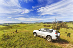 BTops Hill Top 4wd valley. Australia off-road adventure track on 4wd vehicle traveling through regional rural countryside in NSW near Barrington tops national Stock Image