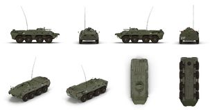 BTR-80 amphibious armoured personnel carrier renders set from different angles on a white. 3D illustration. BTR-80 amphibious armoured personnel carrier renders Royalty Free Stock Photo