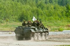 BTR-82A armoured personnel carrier with soldiers Stock Photography