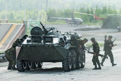 BTR-82A armoured personnel carrier with soldiers Royalty Free Stock Photography
