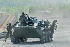 BTR-82A armoured personnel carrier with soldiers Royalty Free Stock Images