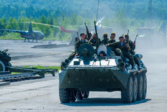 BTR-82A armoured personnel carrier with soldiers Stock Photo