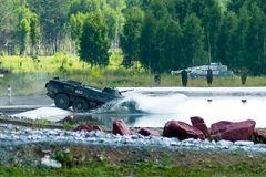 BTR-82A armoured personnel carrier in water Stock Image