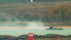 BTR-82A armoured personnel carrier in water stock footage