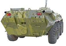 BTR military armored personnel carrier with wheels. On a white background stock photos