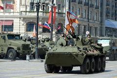The BTR-82A is an Russian 8x8 wheeled amphibious armoured personnel carrier (APC). Royalty Free Stock Photography