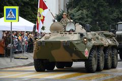 BTR-80 Russian wheeled amphibious armoured personnel carrier. Pyatigorsk, Russia - May 9, 2018: BTR-80 GAZ-5903 Legendary wheeled amphibious armoured personnel Stock Photos