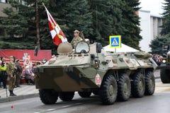 BTR-80 Russian wheeled amphibious armoured personnel carrier. Pyatigorsk, Russia - May 9, 2018: BTR-80 GAZ-5903 Legendary wheeled amphibious armoured personnel Royalty Free Stock Photos