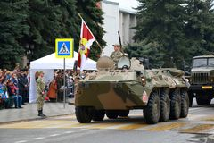 BTR-80 Russian wheeled amphibious armoured personnel carrier. Pyatigorsk, Russia - May 9, 2018: BTR-80 GAZ-5903 Legendary wheeled amphibious armoured personnel Stock Photography