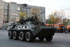 The BTR-82 is an 8x8 wheeled amphibious armoured personnel carrier (APC). MOSCOW, RUSSIA - MAY 05, 2016: Military equipment on Tverskaya street prepares to Stock Photography