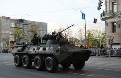 The BTR-82 is an 8x8 wheeled amphibious armoured personnel carrier (APC). MOSCOW, RUSSIA - MAY 05, 2016: Military equipment on Tverskaya street prepares to Royalty Free Stock Images