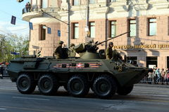 The BTR-82 is an 8x8 wheeled amphibious armoured personnel carrier (APC). MOSCOW, RUSSIA - MAY 05, 2016: Military equipment on Tverskaya street prepares to Stock Photos