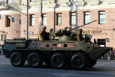The BTR-82 is an 8x8 wheeled amphibious armoured personnel carrier (APC). MOSCOW, RUSSIA - MAY 05, 2016: Military equipment on Tverskaya street prepares to Royalty Free Stock Image