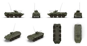 BTR-80 wheeled armoured vehicle personnel carrier renders set from different angles on a white. 3D illustration. BTR-80 wheeled armoured vehicle personnel Stock Image