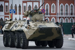 BTR-82A. Yoshkar-Ola, Russia - May 4, 2017 General rehearsal of the Victory Parade in Yoshkar-Ola. The BTR-82A armored personnel carrier passes through the Royalty Free Stock Images