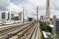 BTS , railroad train is comming. Royalty Free Stock Photo