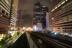 BTS railway at Sathorn-Narathiwat Intersection Royalty Free Stock Photo