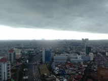 BTS before the rain from 31st floor stock photography