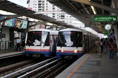 BTS or Sky Train at a Bangkok Station. BANGKOK - FEB 7: BTS Skytrain, Bangkok's elevated electric railway mass transit system, at a station on as the BTS rail Stock Photography