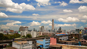 BTS sky train running on elevated rail in Bangkok Royalty Free Stock Photos
