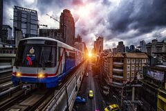The bts and sky train in thailand royalty free stock image