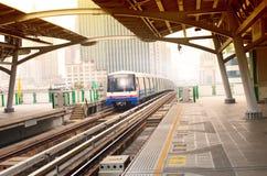 Bts sky trains in bangkok city important urban transportation in. Heart of bangkok thailand Royalty Free Stock Image
