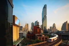 BTS Skytrain. And Mahanakhon building in background at silom road, Bangkok Thailand Stock Photos