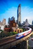 BTS Skytrain. And Mahanakhon building in background at silom road, Bangkok Thailand Royalty Free Stock Photography