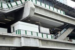 BTS Skytrain on elevated rails in Asoke district Stock Photography