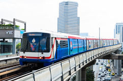 BTS Skytrain on Elevated Rails in Central Bangkok. A BTS (Bangkok Transit System) Skytrain on elevated rails above Phahonlayothin Road in Bangkok, Thailand Royalty Free Stock Photo