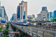 BTS skytrain is an elevated rapid transit system in Bangkok. BANGKOK, THAILAND - Mar. 8, 2018 : Bangkok Mass Transit System or BTS skytrain is an elevated rapid Royalty Free Stock Images