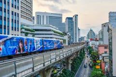BTS skytrain is an elevated rapid transit system in Bangkok. BANGKOK, THAILAND - Mar. 8, 2018 : Bangkok Mass Transit System or BTS skytrain is an elevated rapid Royalty Free Stock Photos