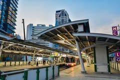 BTS skytrain is an elevated rapid transit system in Bangkok. BANGKOK, THAILAND - Mar. 8, 2018 : Bangkok Mass Transit System or BTS skytrain is an elevated rapid Stock Photos
