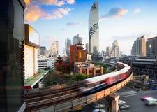 BTS Skytrain. And Mahanakhon building in background at Bangkok business`s district at silom road, Bangkok Thailand Stock Images