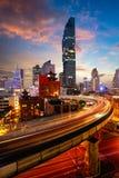 BTS Skytrain. And Mahanakhon building in background at silom road, Bangkok Thailand Royalty Free Stock Photos