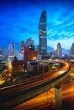BTS Skytrain. And Mahanakhon building in background at silom road, Bangkok Thailand Royalty Free Stock Images
