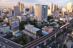 BTS Skytrain runs on elevated rails, BANGKOK - JUL 20 Stock Photo
