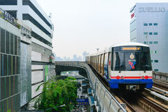 BTS Skytrain runs through the Silom Station Royalty Free Stock Image