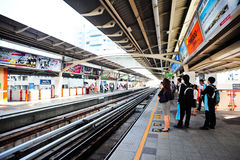 BTS or Skytrain at a Station in Bangkok Royalty Free Stock Photos