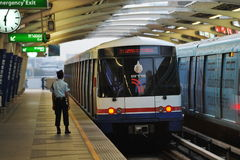 BTS Skytrain at Train Station Stock Image