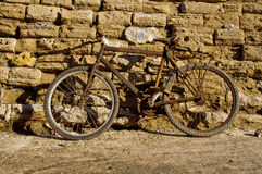 BTT. Old BTT against stone wall royalty free stock photo