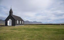 Buðir黑人教会, Snæfellsness半岛10的南部的边缘 库存照片