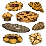 Buñuelo del pan y de los pasteles, pan largo y empanada de la fruta magdalena y bollo o cruasán dulce, mollete del chocolate mano Fotografía de archivo