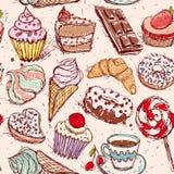 Buñuelo y café inconsútiles dibujados mano de la torta del helado de la melcocha del caramelo de la magdalena del cruasán del mod Foto de archivo libre de regalías