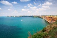 Bułgaria, Czarny morze Kaliakra przylądkowy Fotografia Stock