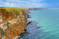 Bułgaria, Czarny morze nabrzeżny equense krajobrazu mety Sorrento vico Kaliakra przylądkowy obrazy stock